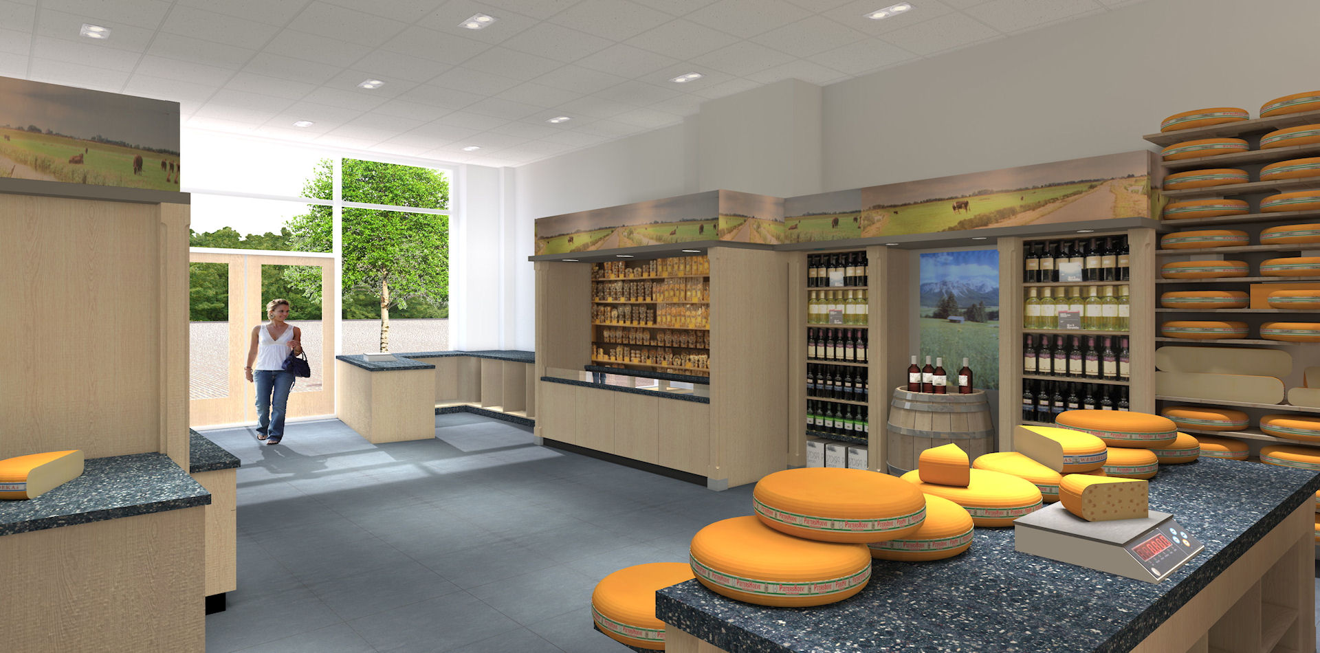 3d interieur visualisatie - kaas winkel - 3d impressie binnen