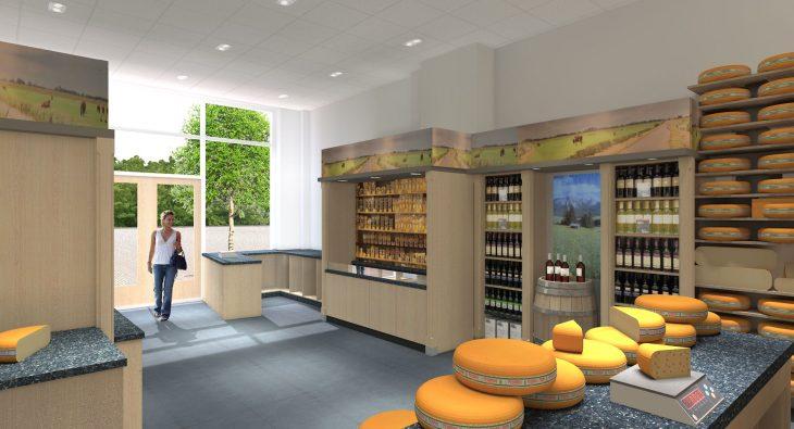 3d interieur visualisatie - kaas winkel - 3d impressie binnen 1