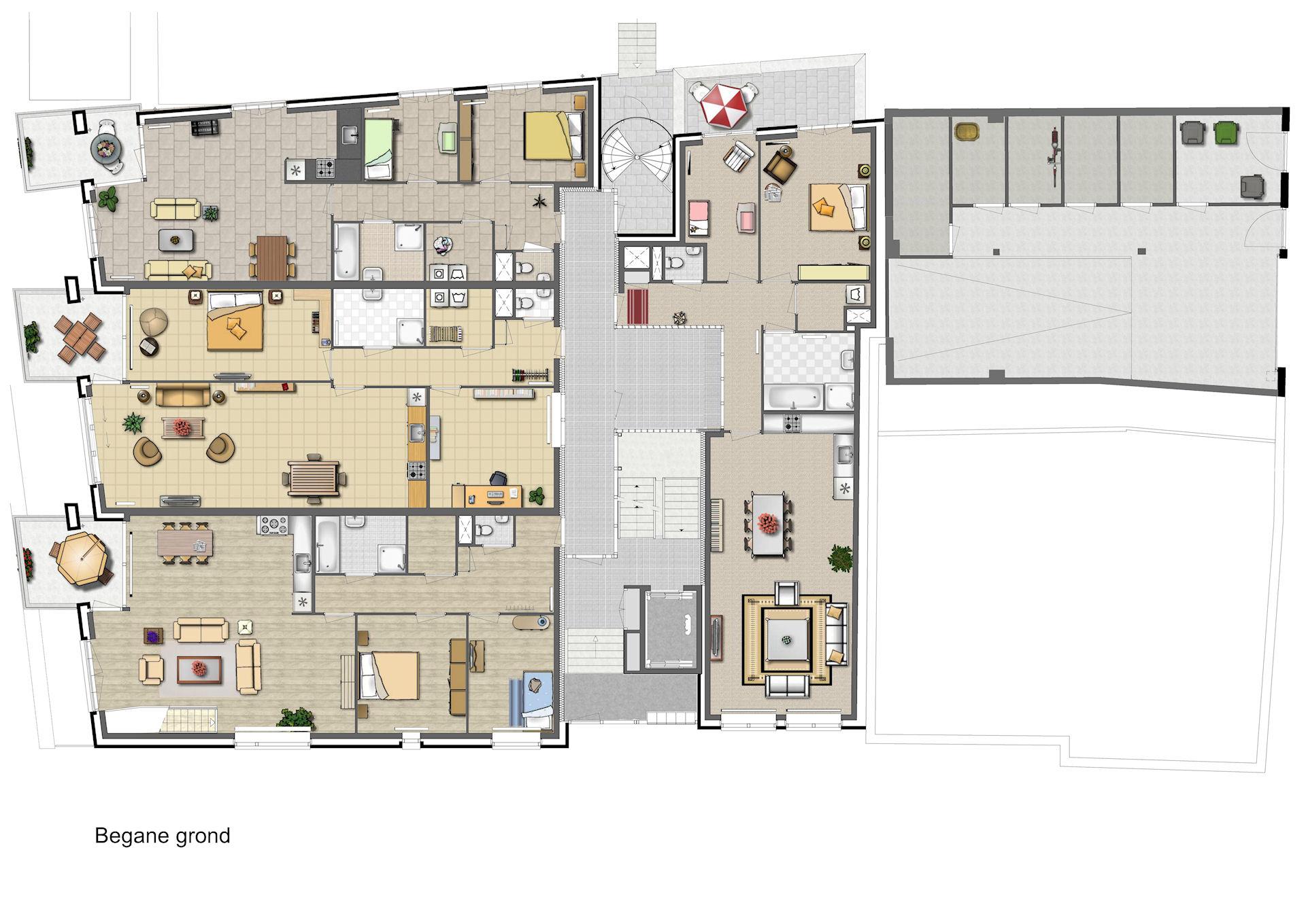 Ingekleurde sfeer plattegronden nieuwbouw for Plattegrond van je huis maken